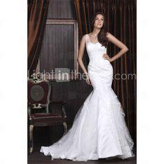 Trumpet/ Mermaid Sweetheart Court Train Satin Tulle Wedding Dress