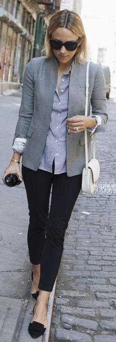 Gray Blazer On Blue Stripes Fall Inspo by Damsel In Dior