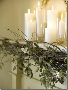 Love the candles...also think mint green or taupe candles would look so nice...