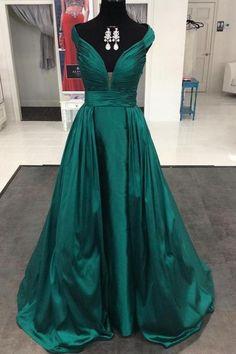 Emerald Green Satin Long Formal Evening Gowns Dresses 2016 Prom Dresses Elegant