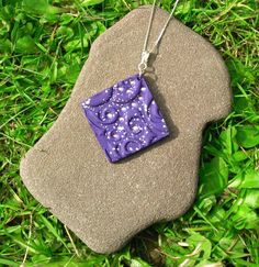 Purple sparkle pendant, polymer clay art, sterling silver, mosaic pattern, one of a kind, unique gift, kawaii necklace, inspirational gift. by JanicesJewelsUK on Etsy