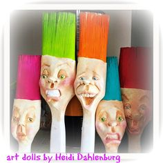 Altered Paintbrush Faces. Clay on paintbrush. finished with artist quality mediums. https://www.facebook.com/pages/Art-Dolls-by-Heidi-Dahlenburg/1412184525751147