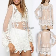 Sheer Sleeve Embroidery T Shirt Blouse Tops Lady Crochet Lace Transparent WST in Clothes, Shoes & Accessories, Women's Clothing, Tops & Shirts | eBay