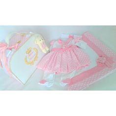 Bolsa M + Saída de Maternidade Rosa com Branco