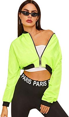 To find out about the Neon Green Zip Through Crop Bomber Jacket at SHEIN, part of our latest Jackets ready to shop online today! Metallic Bomber Jacket, Velvet Bomber Jacket, Corduroy Jacket, Blazer Jacket, Khaki Jacket, Cotton Jacket, Quilted Jacket, Cute Jackets, Jackets For Women