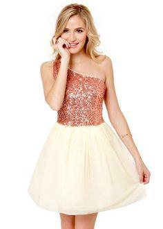 Rose Gold One Shoulder Dress