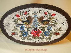 Large German vintage shabby chic marked oval