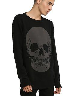Iron Fist Skull Sweater, BLACK, hi-res