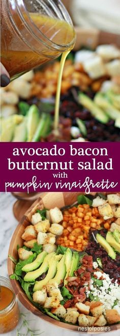 Avocado Bacon Butternut Salad with Pumpkin Vinaigrette Avocado-Speck-Butternut-Salat mit Kürbis-Vinaigrette Chicken Salad Recipes, Healthy Salad Recipes, Roasted Butternut, Thanksgiving Recipes, Fall Recipes, Yummy Recipes, Dinner Recipes, Pumpkin Recipes, Soup And Salad
