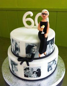 Pastel albúm de fotos con mujer modelada 60th Birthday Cake For Ladies, Grandma Birthday Cakes, 60th Birthday Decorations, Moms 50th Birthday, Special Birthday Cakes, 70th Birthday Parties, Happy Birthday Cakes, Birthday Celebration, Mom Cake