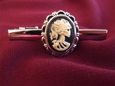 Mens Tie Bar Clip Gothic Lovely Lolita Cameo Silver by AGothShop, $18.00