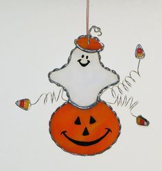 Stained Glass Suncatcher Halloween by GLASSbits - ghost with jack o' lantern and candy corn