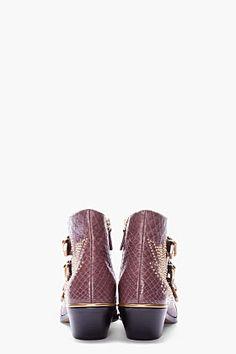 Chloe Taupe Python Studded Susanna Boots for women   SSENSE