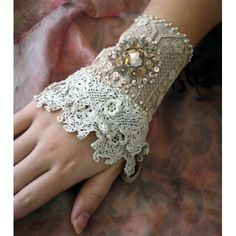 Antique Crochet Lace Cuff with Pearl Brooch Embellishment ....