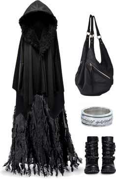 Love this caped dress and those boots are to die for, the ring if it was in gold, YES. Not so much for the bag. LD.