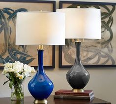 Super pretty. Maybe my favorite. It's a little more relaxed.  Base only. Glazed Glass Lamp Base #potterybarn
