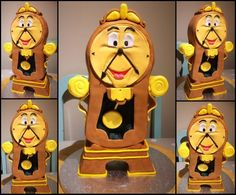 Beauty and the beast, Cogsworth cake. Please see video https://youtu.be/sNdwPYpLqWM