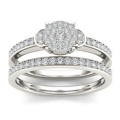 <li>White diamond bridal ring set</li><li>10k white gold jewelry</li><li><a href='http://www.overstock.com/downloads/pdf/2010_RingSizing.pdf'><span class='links'>Click here for ring sizing guide</span></a></li>