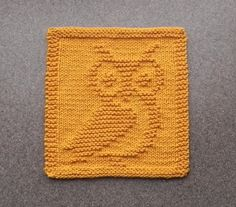 Knit Dishcloth OWL Hand Knitted Unique Design by AuntSusansCloset