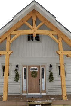 Timber Frame Accent on our Wollaston Home #TimberFrame #Log #Custom #Accent #Wollaston #DiscoveryDreamHomes