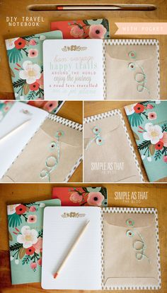 Combat miscellaneous paper clutter with this simple trick! Glue an envelope inside the cover of your go-to notebook or planner to create a place you can hide loose papers that you need to keep.