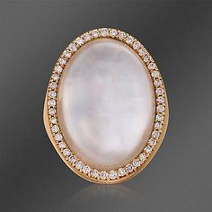 Roberto Coin Mother-Of-Pearl and .42 ct. t.w. Diamond Ring in 18kt Rose Gold. >>Click on the Rose Gold ring to see more Rose Gold jewelry at Ross-Simons.