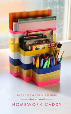 Aunt Peaches: Back to School Homework Caddy made from cereal boxes and duct tape! Too cute!