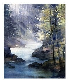 olympic national forest 2 by Thomas W. Schaller Watercolor ~ 14 inches x 11 inches