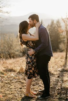 What to wear for engagement photos - a romantic floral dress paired with a dark blue shirt with black pants! Perfect for a spring outdoor engagement session! Engagement Photo Outfits, Engagement Session, Engagement Photos, Dark Blue Shirt, Black Pants, What To Wear, Romantic, Couple Photos, Spring