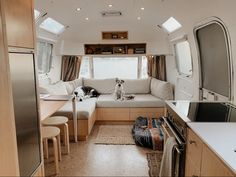 When guests stay over, the airstream is adaptable. It's one of my favorite things that we did with the build that I'm really proud of and… Airstream Interior, Vintage Airstream, Airstream Trailers, Vintage Travel Trailers, Bus Living, Tiny Living, Simple Living, Airstream Restoration, Cool Campers