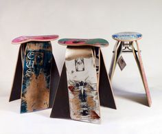 recycled skateboards into stools