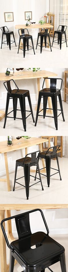 Bar Stools 153928: New Low Back Indoor Outdoor Chair Stool Counter Height Stools Black (Set Of 4) -> BUY IT NOW ONLY: $109.99 on eBay!