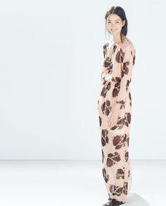 vestido longo floral zara
