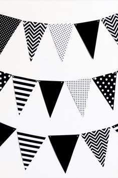 Paper Bunting - Black and White Cardstock - DIY Party Decor Paper Bunting, Bunting Garland, Garlands, Diy Party Decorations, Childrens Party, Card Stock, Black And White, Wreaths, Black N White