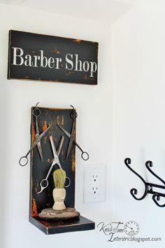 Antique Barber Scissors and Shaving Brush turned into a Barber Shop theme Bathroom Display  ~~via KnickofTime.net