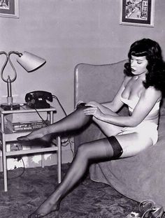 Pin up girl, Bettie Page #NationalStockingsDay
