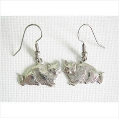 Adorable detailed cat earrings .. silver tone animal jewellery cute kitsch