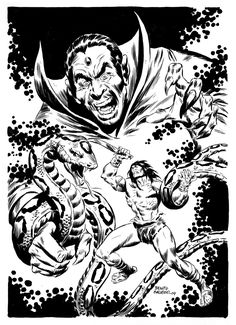 Kulan Gath was created at Marvel Comics as a foe of Conan the Barbarian and was later fully integrated into the Marvel Universe. Pencil Drawings, Art Drawings, King Cobra Snake, Conan The Barbarian, Macabre, View Image, Marvel Universe, Van Gogh, Marvel Comics