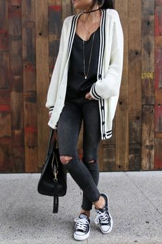 look casual converse Adrette Outfits, Preppy Outfits, Preppy Style, Outfits For Teens, Fall Outfits, Summer Outfits, Fashion Outfits, My Style, Black Converse Style