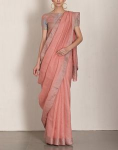 Linen by linen 100 count peach pure organic handwoven saree with silver zari border,peach linen saree,peach Lenin saree,partywear linen sari Indian Sarees, Silk Sarees, Handloom Saree, Salwar Kameez, Indian Dresses, Indian Outfits, Moda India, Formal Saree, Casual Saree