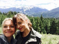 Pin for Later: Go Behind the Scenes of Fifty Shades Darker With Dakota Johnson  We can't tell which is more gorgeous, this pretty mountain or Eloise Mumford and Dakota Johnson.