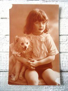 Antique french dog postcard  Little girl arm by LizKnijnenburg, €2.80