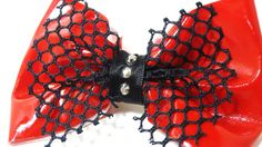 Latex Super Shiny Bright Red Hair Bow by MissLizzyD on Etsy, $12.00