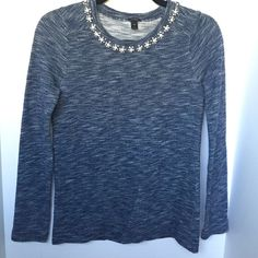 ✨LIKE NEW✨J Crew embellished neck knit J Crew embellished neck knit/sweater/long sleeve. Worn once. Like new.    REMINDER: ▪️ Everything is cheaper on ♏️erc ▪️ Make fair offers//don't low ball ▪️ Smoke free home ▪️ NO trades, please do not ask ▪️ Reserves are for 24 hours J. Crew Sweaters Crew & Scoop Necks