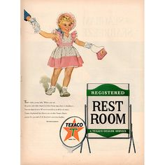 Original 1953 Texaco Gas Station Registered Rest Room Print Ad - Gas & Energy Advertisement -An original vintage 1953 advertisement, not a reproduction -Measures approximately x to x -Ready for matting and framing. Gas Energy, Rest Room, Texaco, Gas Station, Print Ads, Advertising, The Originals, Classic, Derby