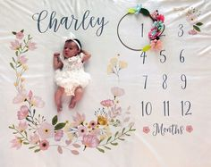 and baby pictures Baby Month Milestone Blanket- Blossom - Girl - Personalized Baby Blanket - Track Growth and Age - New Mom Baby Shower Gift Baby Month Milestone Blanket Blossom Girl Personalized Milestone Pictures, Monthly Pictures, Baby Pictures, Baby Milestone Chart, Baby Milestone Blanket, Milestone Blankets, Photoshoot Idea, The Babys, Baby Shower Gifts