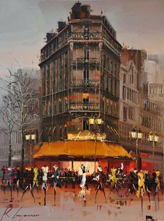painting, cityscape, more from this author>> http://3rd-art.blogspot.com.es/2014/03/kal-gajoum-1968.html#more