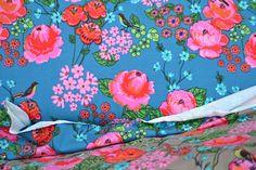 Stoffe gemustert - Baumwolljersey Stenzo petrol pink Rosen - ein Designerstück…