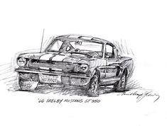 Drawing of the 1966 Shelby GT 350 by David Lloyd Glover.  See the artist documentary:  http://www.artandcointv.com/DocumentaryPop.php?ID=52