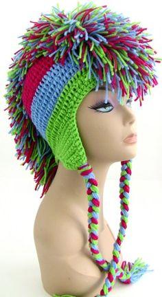 Crochet Mohawk Hat - Neon Green Medium Blue Hot Pink   UnexpectedTreasure - Crochet on ArtFire